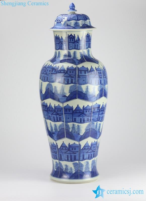 Blue and white handmade building and pavilion pattern huge porcelain  ginger jar