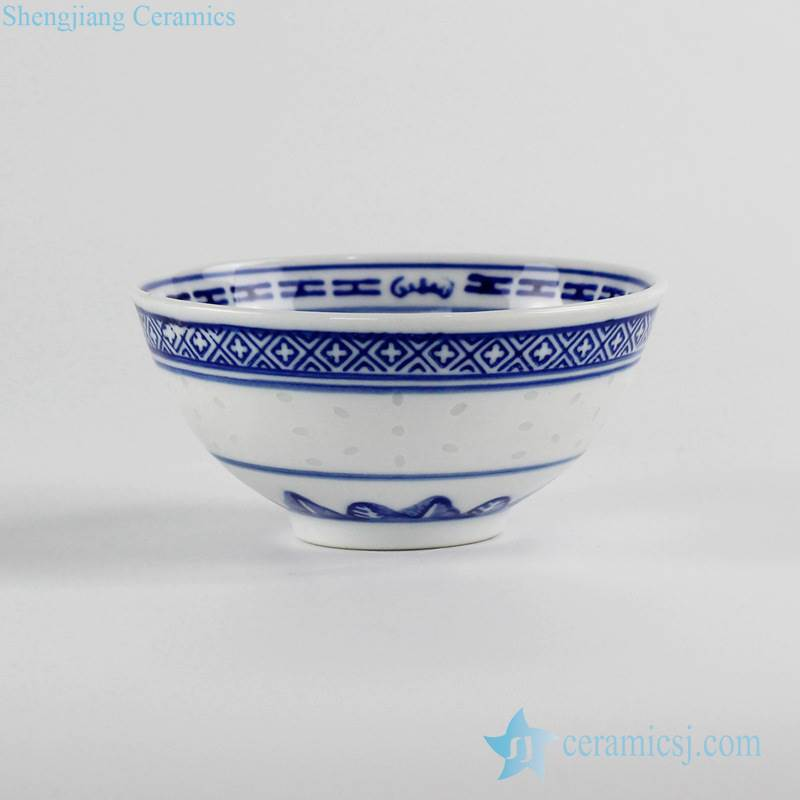 blue and white Jingdezhen Chinese traditional rice pattern porcelain  bowl