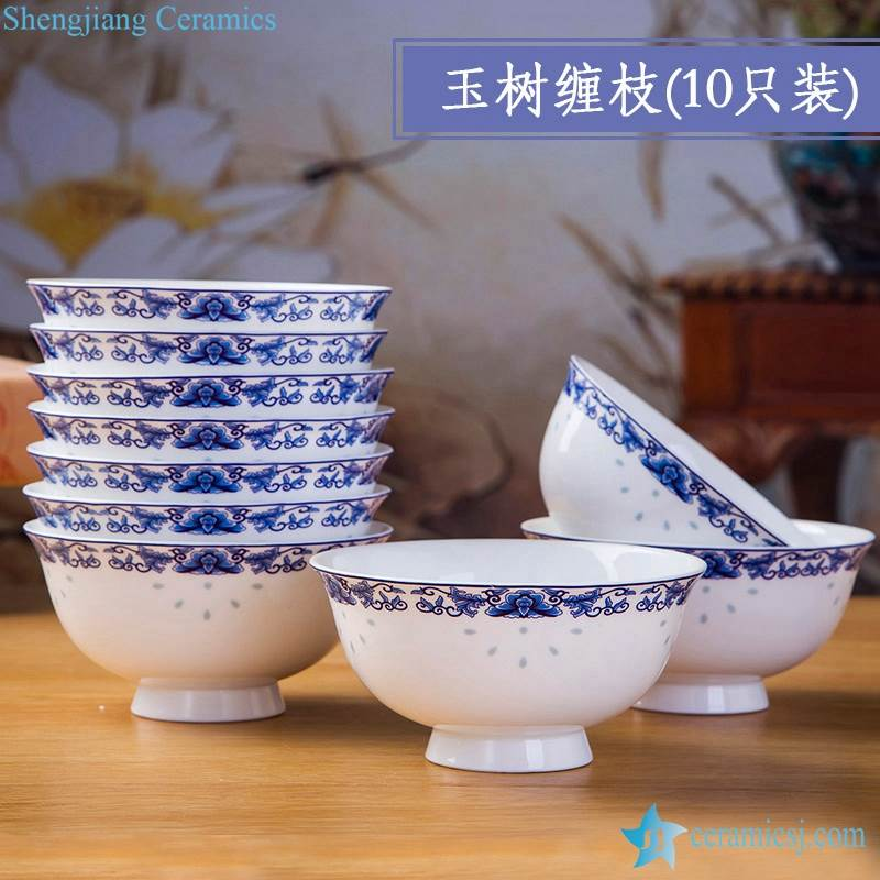 Branches pattern blue and white ceramic bowls Set of 10 Wholesale