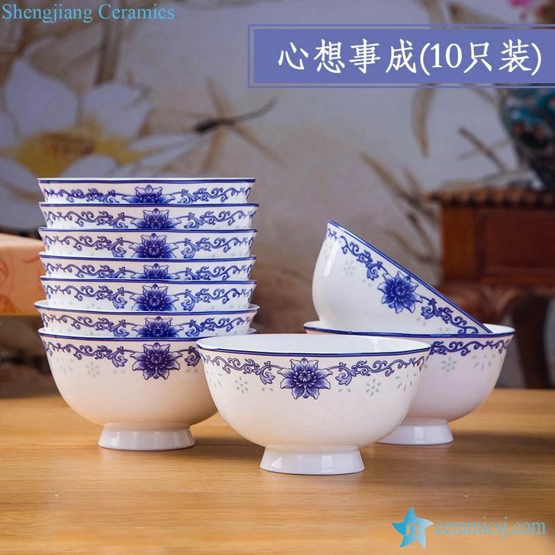 high quality set of 10 Jingdezhen flower pattern blue and white ceramic bowls