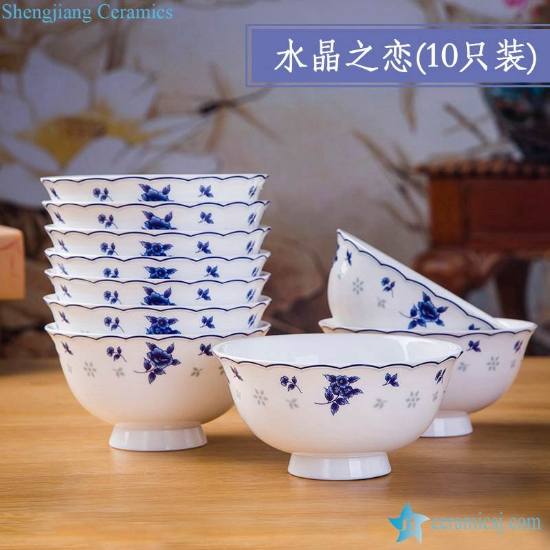 Porcelain Bowl Blue And White Set of 10