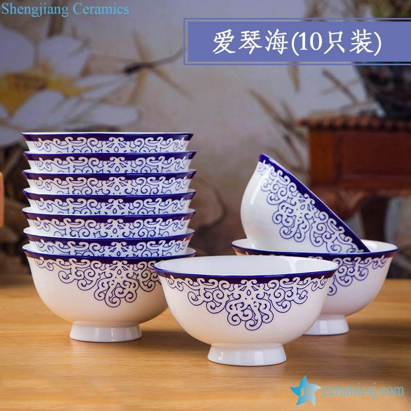 Set of 10 Blue And White Porcelain Bowl