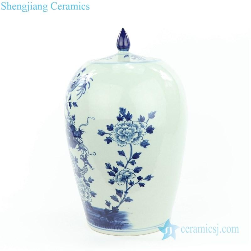 dragon and  floral ceramic jar