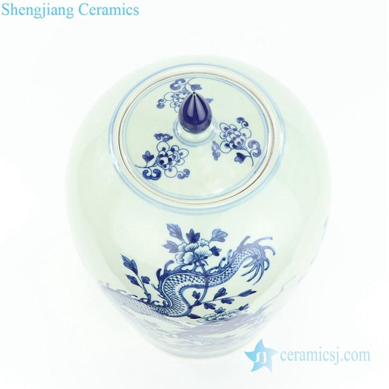 handmade dragon floral ceramic jar
