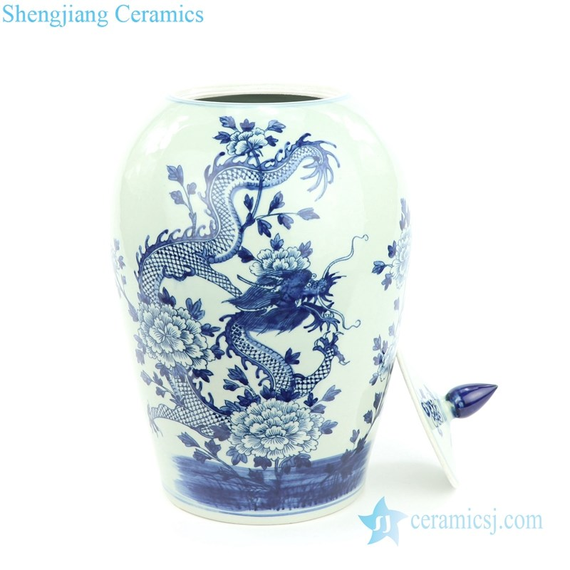 China ancient dragon floral ceramic jar