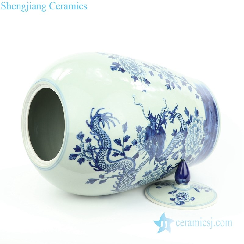 handmade China dragon floral ceramic jar