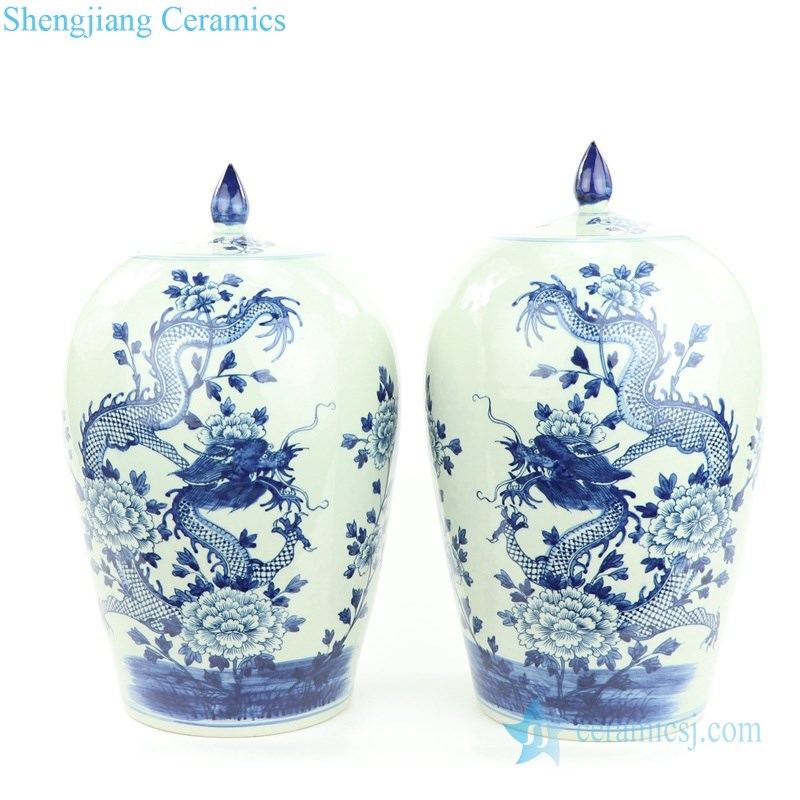 dragon floral pattern ceramic jar