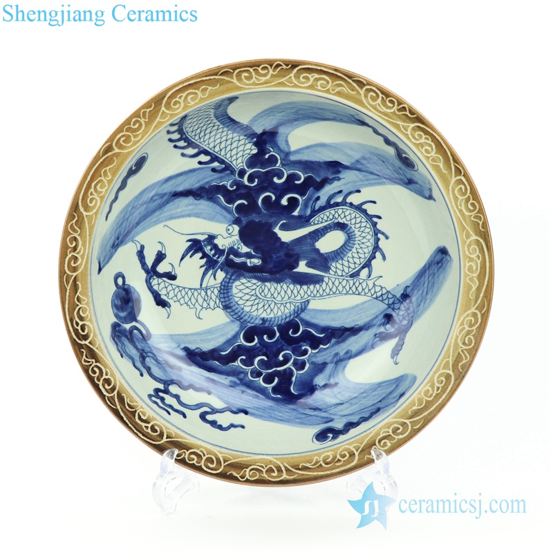 PORCELAIN DRAGON PLATE with  rim