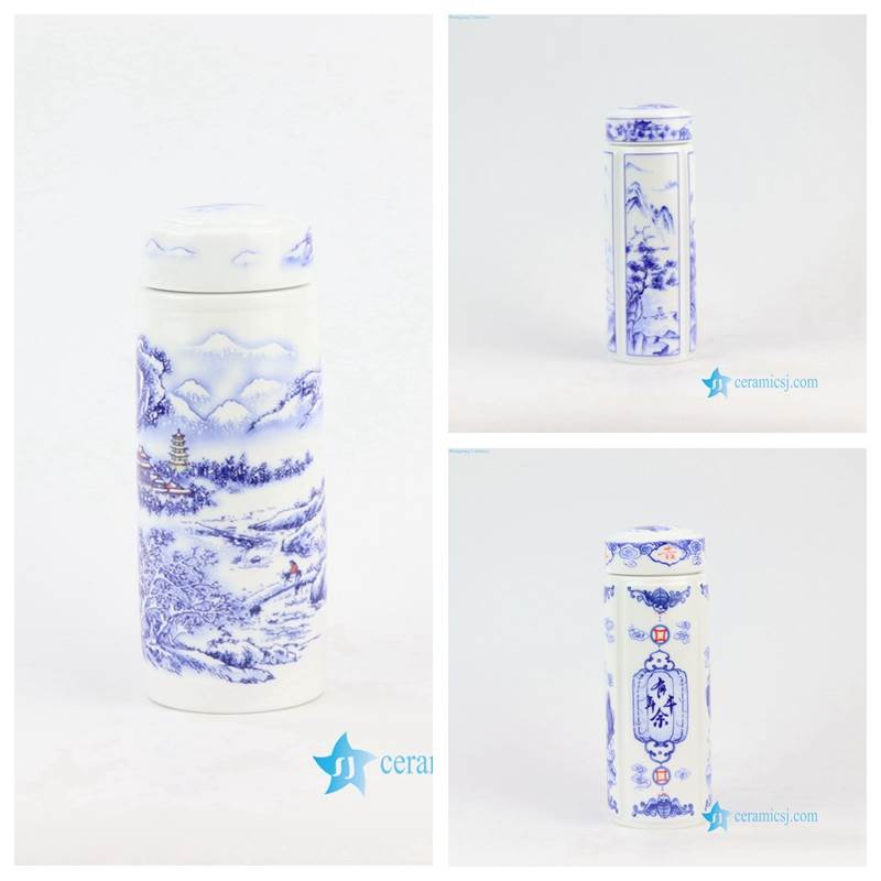 blue and white ceramic thermos tea cup