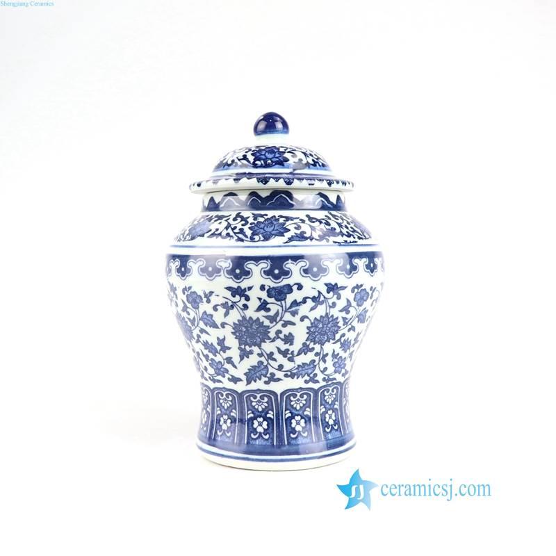 Asian blue and white flower pattern ceramic jar
