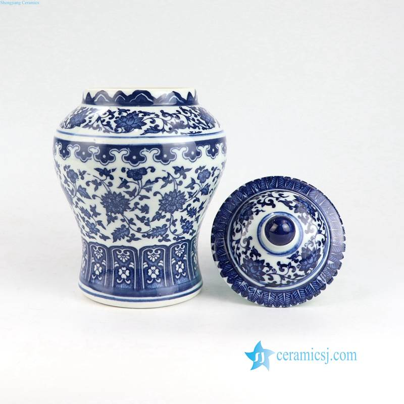 Asia blue and white flower jar with a lid