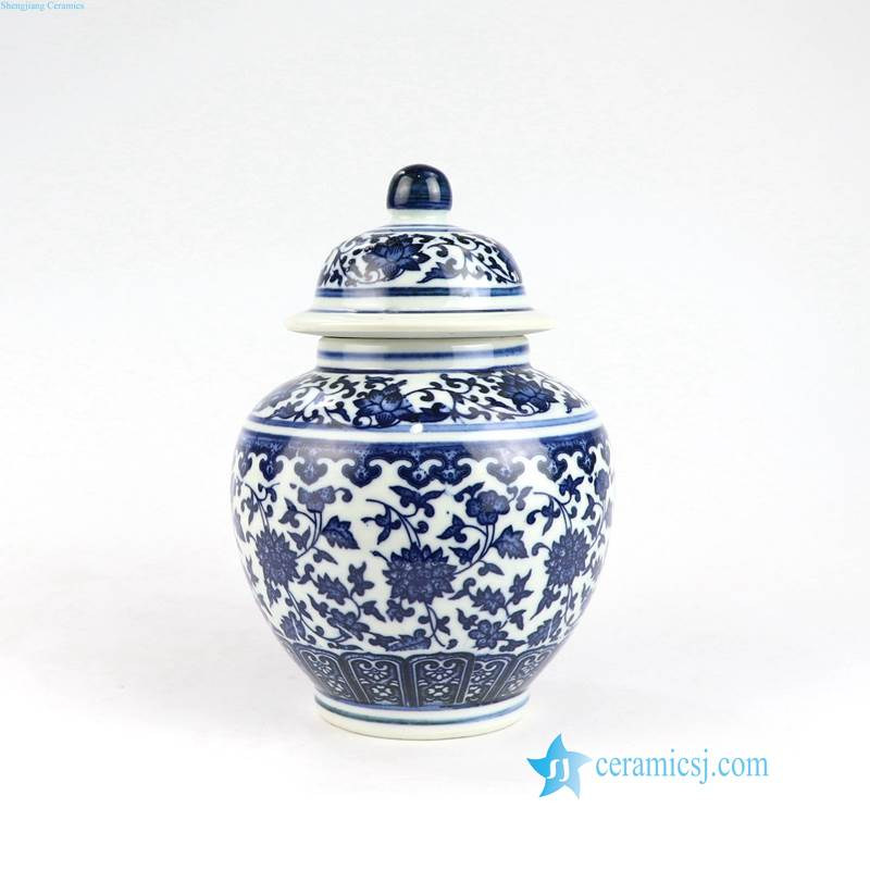 blue and white mini flower pattern ceramic jar