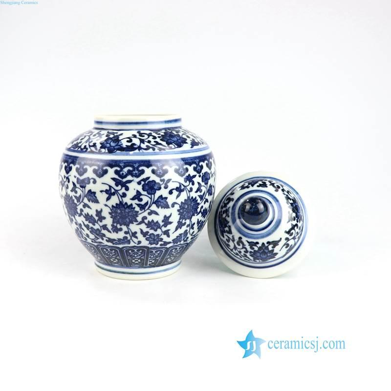 blue and white min flower pattern ceramic jar