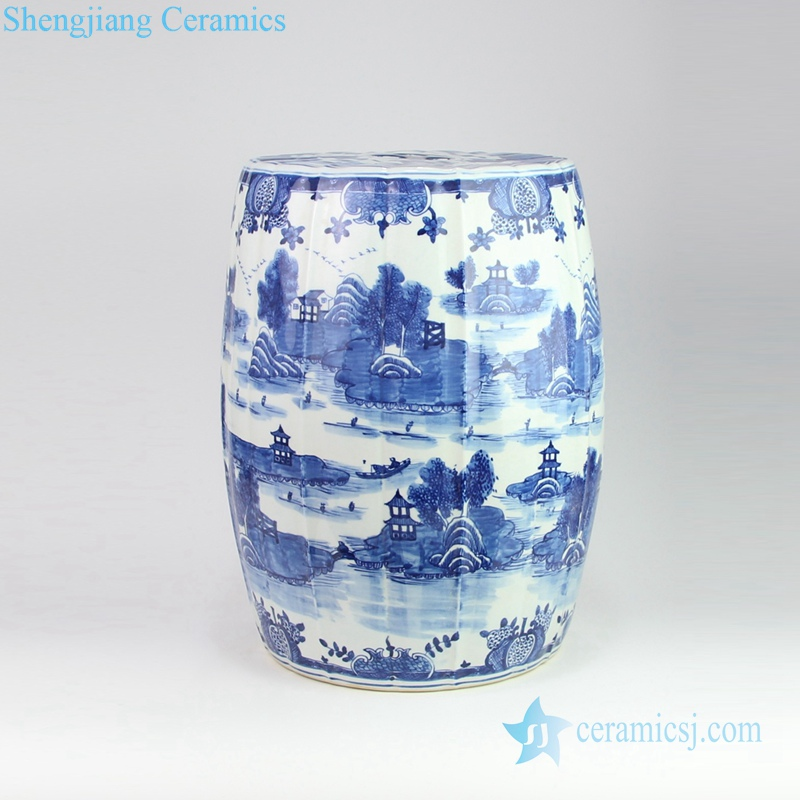 water town and pavilion  porcelain stool