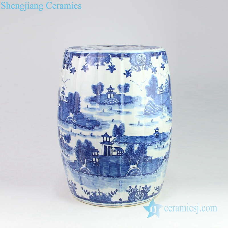 water town and pavilion pattern porcelain stool