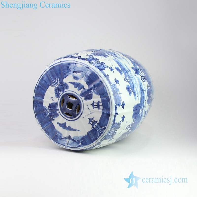 water town porcelain stool with hollow pattern