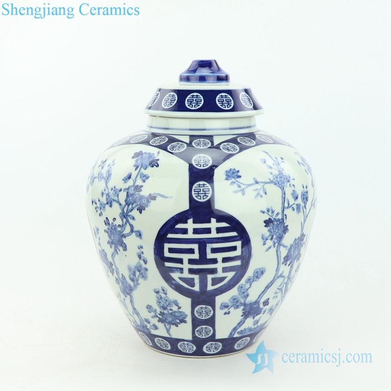 double happy ceramic lamp with tree pattern