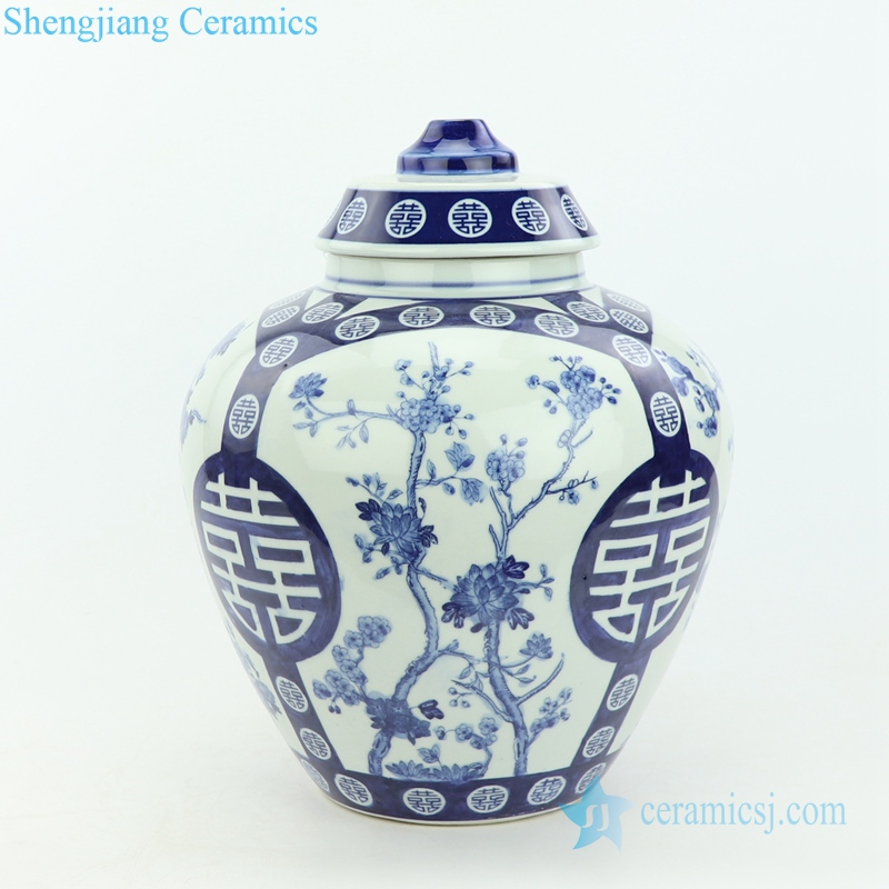 double happy ceramic lamp with flower pattern