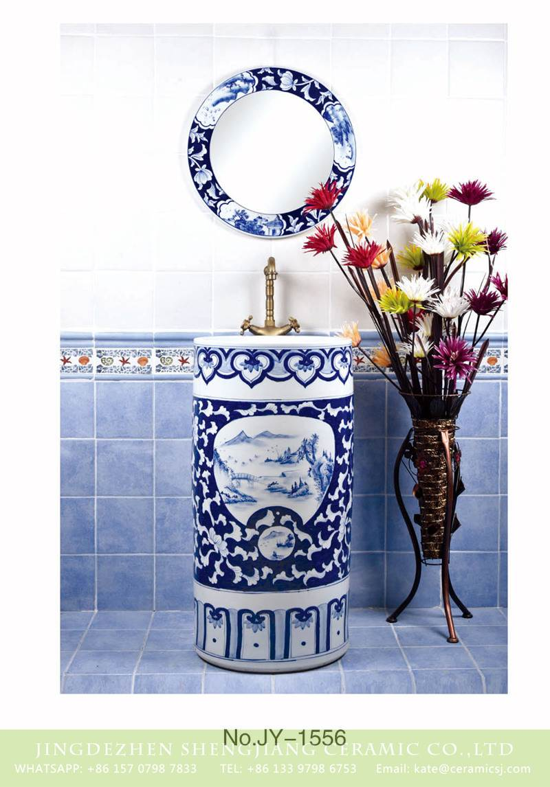 blue and white scenery pattern ceramic pedestal sink