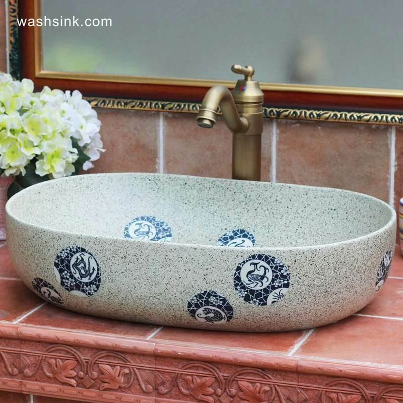 blue and white beast dote design ceramic large sink