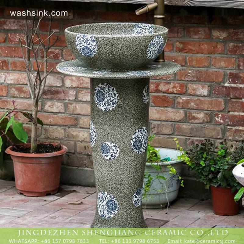 modern  Jingdezhen manufacture produce grey color blue and white floral porcelain pedestal wash hair lavatory basin