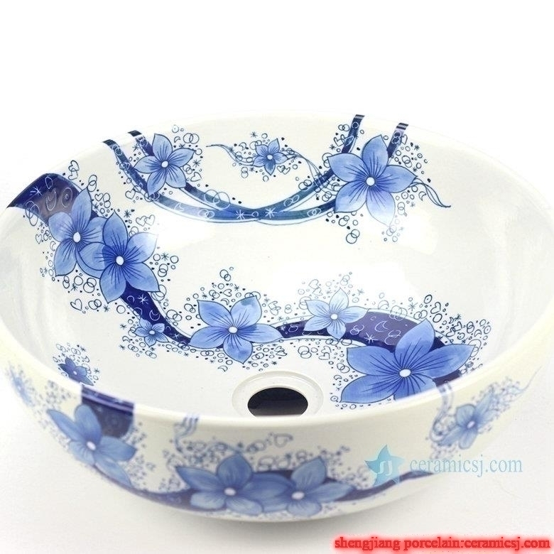 Blue and white flower pattern bathroom porcelain  counter top round wash basin sink