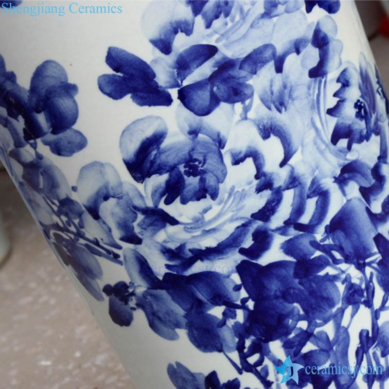 Tall Blue and white ceramic vase