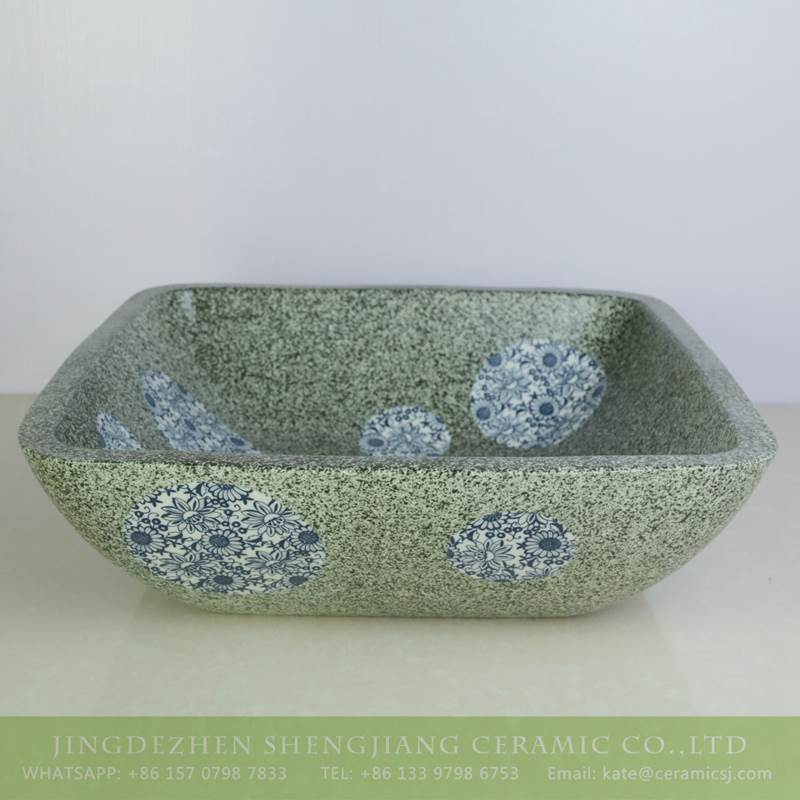 Blue and white dot square green ceramic basin