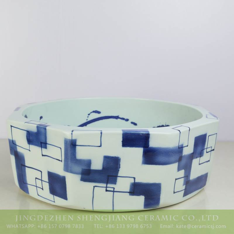 blue and white ceramic art basin for washing