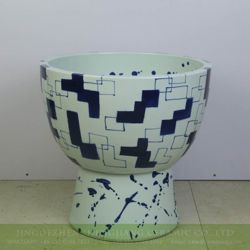 blue and white post modern style  porcelain  mop sink