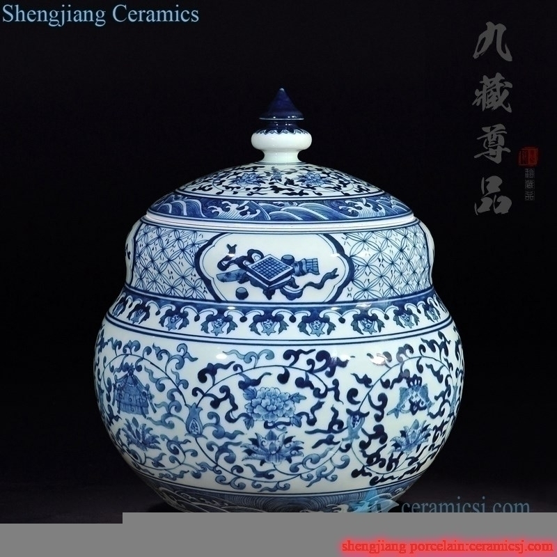 flower  pattern ceramic tea jar