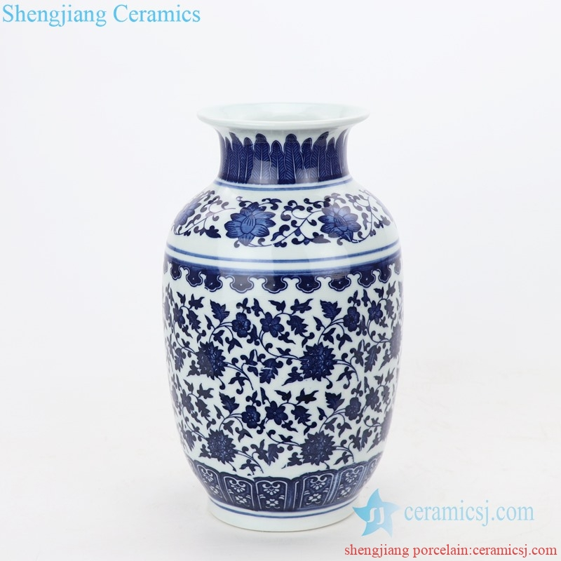 hand craft ceramic vase with flower pattern