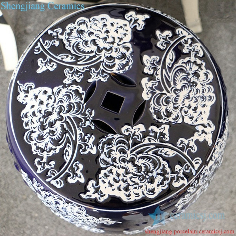 high skilled ceramic stool with flower pattern