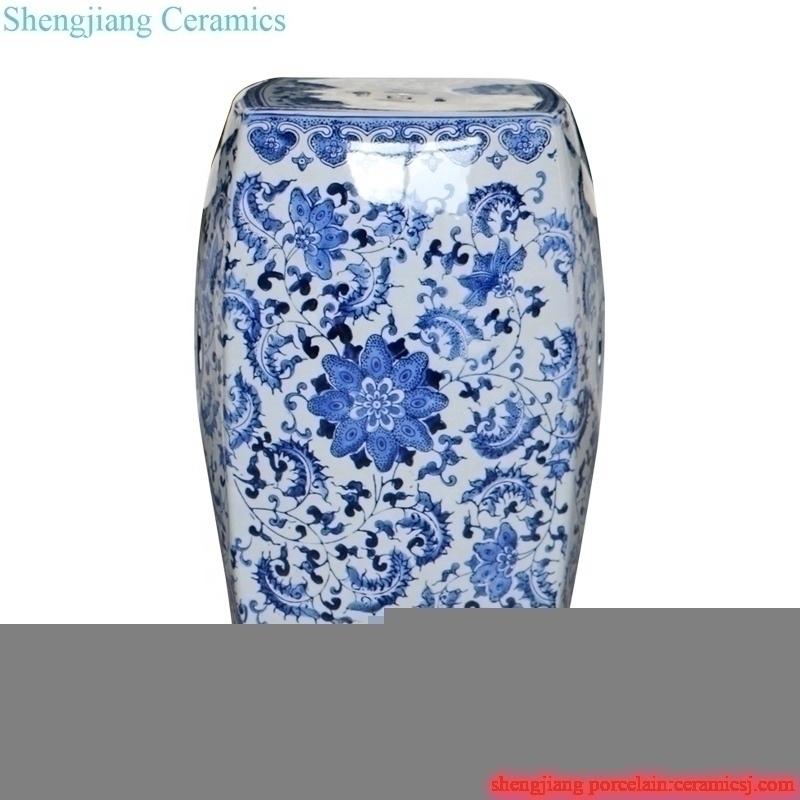 handmade four sides ceramic stool