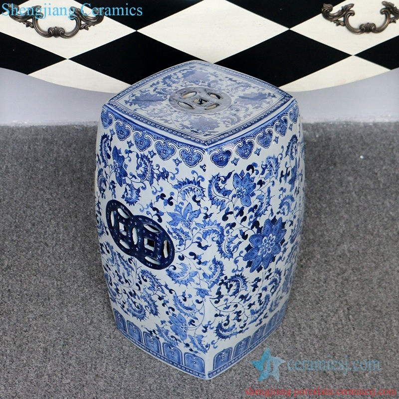 four sides ceramic stool with pattern