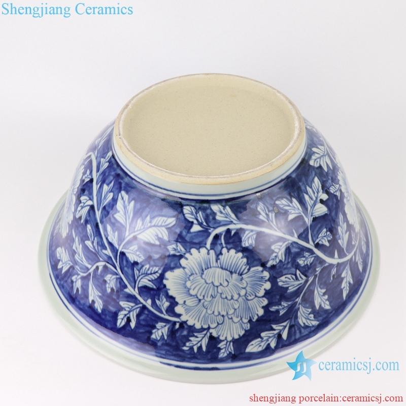 RZSD02 Chinese handmade blue and white flower design ceramic bowl